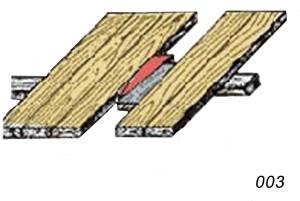 Если есть прогиб, то между доской и лагами укладывают прокладку.