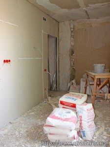 Готовая стена из гипсокартона.